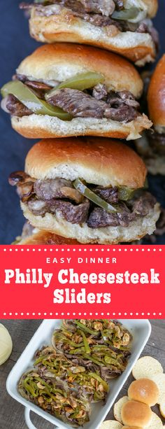 Philly cheesesteak sliders are perfect for family dinner. These sliders are easy to make and taste delicious, they are great comfort food for any weekday. These sliders are perfect to serve to big crowds, they are a classic twist on a classic Philly. #sliders #phillycheesesteaksliders