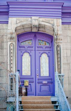 Purple door and trim - Le Plateau-Mont-Royal, Montreal, Quebec, Canada Mont Royal Montreal, Montreal Ville, Montreal Quebec, Grand Entrance, Entrance Doors, Doorway, Front Doors, Cool Doors, Unique Doors