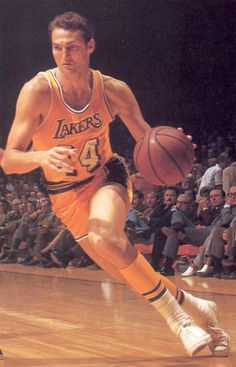 The silhouette on the NBA logo is Hall of Fame Laker Jerry West.