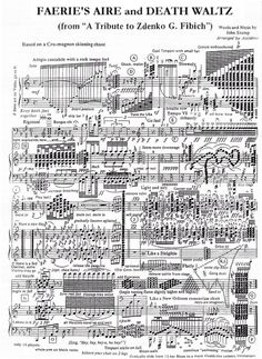 """The sheet music to Faerie's Aire and Death Waltz, an impossible piano song that a guy wrote as a joke. It even has absurd commands written in it like """" Remove Cattle from stage"""",   """"Have a nice day,"""" """" balance your chair on two legs,"""" and lots of other ones."""