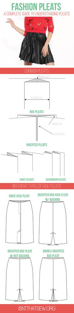 A complete guide to pleats | isntthatsew.org/pleats by Ruth Reyes-Loiacano ...A complete look at the most common fashion pleats. A pleat is folded excess fabric that creates fullness. Pleats are used both as a design element and for functionality and ease of movement. They are created by doubling over fabric on itself to produce a fold. Pleats come in a variety of forms, shapes, and sizes.