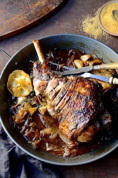 Roast leg of lamb with sweet onion marmalade