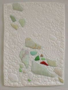 Quilting Tutorials, Quilting Projects, Sewing Projects, Quilting Ideas, Art Quilting, Modern Quilting, Sea Glass Crafts, Sea Glass Art, Ocean Quilt