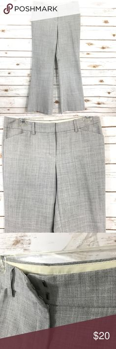 Express Editor Dress Pant 4R bootcut Gently used Express Editor dress pants. Light gray, size 4R. Waist 15 inches across laying flat, rise 8 1/2 inches, 31 inch inseam. Button pocket on back. Clasp front closure. Express Pants Boot Cut & Flare