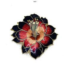 1 Large hibiscus flower enamelled belt buckle signed Fish