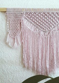 Macrame Wall Hanging -Handcrafted -100% Cotton -Size: 55x60 cm -Color: Light Pink