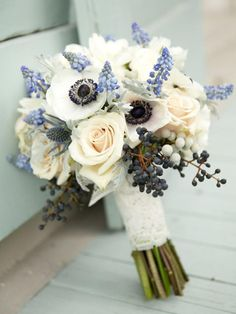 "Blue Wedding Flowers Rustic-style Hyacinth, Blueberry and Anemone Wedding Bouquet. - Stumped on picking a ""something blue?"" Consider choosing flowers in a blue hue for a pretty bouquet that's also a nod to this tradition. Bridal Bouquet Blue, Wedding Bouquets, Navy Bouquet, Ranunculus Wedding, Wedding Veils, Bridal Flowers, Wedding Hair, Bridal Hair, Wedding Reception"