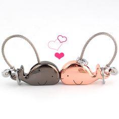 Milesi 3D Baleine Porte-clés pour les Amoureux Cadeau Sac Pendentif Couples Clé Bijou Porte-clés De Voiture Porte-clés Chaveiro Articles Innovants K0178