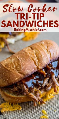 Crowd-pleasing easy Slow Cooker Tri-Tip Sandwiches you can make without having to get near a BBQ. Easy Tri Tip Recipe, Tri Tip Recipes Crockpot, Roast Recipes, Tri Tip Roast Crock Pot Recipe, Crockpot Meals, Dinner Recipes, Beef Meals, Crockpot Dishes, Tri Tip Sandwich