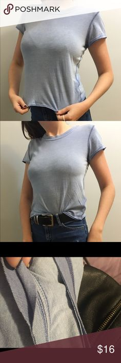BOGO 50% Blue Cropped Tshirt SALE!! EVERYTHING in my shop will be Buy One Get One HALF OFF until MONDAY!! The lesser valued item will recieve the discount make a bundle and i will give you the sale price for it!!   Tshirt from Free People. Very light material with a 'weathered' look and double seamed collar. Great basic!  ***   ***   ***   ***   *** • NO SWAPS • Please message me with any and all inquiries • MAKE ME AN OFFER! Please no lowballing.  • Discounts on bundles! • Smoke-free house…