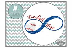 Baseball Mom with Baseball Heart and Infinity Sports Cutting File LL017D SVG DXF EPS AI JPG PNG from DesignBundles.net