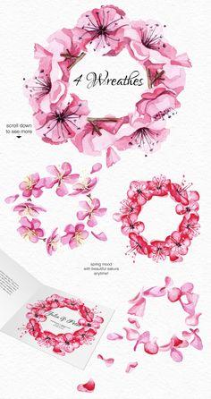 Watercolor Sakura blossom collection by Satika on @creativemarket