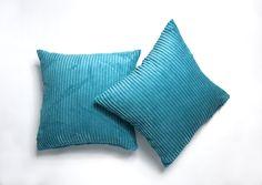 A Pair Of Plain Super Soft Chenille Stripe Cushion Covers Teal Cushion Covers, Teal Cushions, Striped Cushions, Cushion Filling, Pairs, Throw Pillows, Shopping, Link, Room