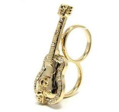 Anel Duplo Dourado Violão Com Pedras - R$120.99