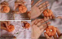 DIY old t-shirt pumpkin ornament