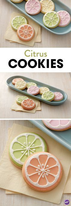 Citrus cookies - crazy cakes and cookies, muffins, cupcakes and bagels - Summer Cookies, Fancy Cookies, Iced Cookies, Cute Cookies, Royal Icing Cookies, Cookies Et Biscuits, Cupcake Cookies, Fruit Cupcakes, Jello Cookies
