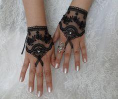 wedding glove black wedding glove gothic bridal by WEDDINGGloves, $25.00