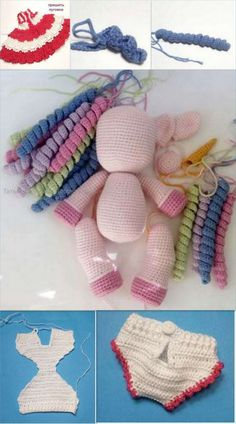 Amigurumi Unicorn Baby Free Pattern - amigurumi.myeatbook.com Crochet Dolls Free Patterns, Crochet Hats, Dental Floss, Magic Ring, Main Colors, Hot Pink, Knitting, Baby, Crochet Bear