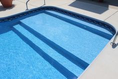 inground pool steps for vinyl liner pools | Vinyl Liner Pool With Full Width Steps Sun Deck Pool And Spa