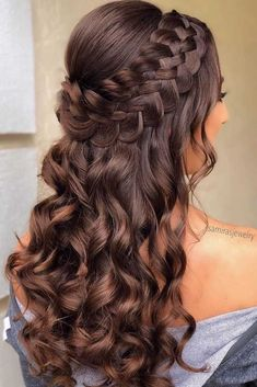 Braided Half Up Updo For Wavy Hair ❤️Hairstyles for long hair are really popular right now. See our 18 amazing Christmas ideas of half up half down hairstyles for long hair. ❤️ homecoming hairstyles 18 Nice Holiday Half Up Hairstyles for Long Hair Down Hairstyles For Long Hair, Pretty Hairstyles, Homecoming Hairstyles Down, Hairstyles For Sweet 16, Natural Hairstyles, Hairstyles For Graduation, Updos For Curly Hair, Hairstyles For Women, Hairstyles For Medium Length Hair
