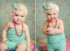 Ordered Ryder a romper hat like this one for her 6 month photos this month!! Now to find/make a cute headband and necklace!!