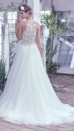 maggie sottero bridal fall 2016 sleeveless beaded straps illusion deep vneck ball gown wedding dress (lisette) bv train