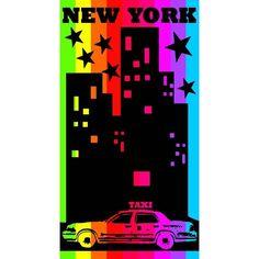 Disponible sur Paris-Prix.com ! Drap de Plage NY Taxi 86x160cm Multicolore