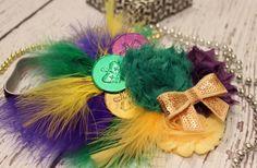 MARDI GRAS DoubloonFeather Headband Mardi by LaBandeauxBowtique