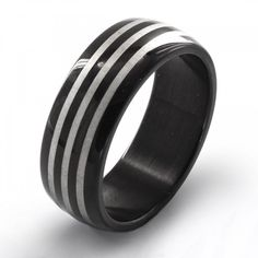 Men's Black Plated Stainless Steel Etched Triple Striped Spinner Band Ring #freeshipping #ring