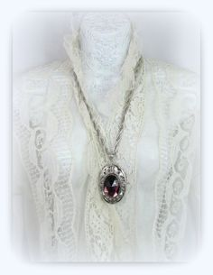 70s vintage Whiting And Davis Silver Pendant Necklace by FouPatou, $65.00