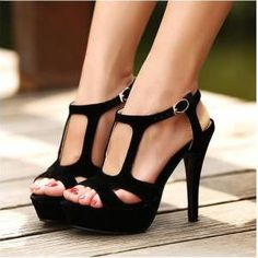 Black Strap High Heel Sandals