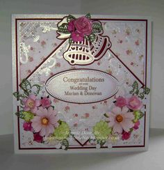 #Wedding Day Card - using the Die-sire Jingle Bells Die again, the Joy Crafts Corner, the centre Oval from Spellbinders Radient Rectangles, Memory Box Chloe Die and the Creative Expressions Faux Leaf - Flowers from Wild Orchid Crafts