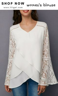White Lace Panel Asymmetric Hem Blouse - Ideal World Trendy Tops For Women, Blouses For Women, Blouse Styles, Blouse Designs, Bluse Outfit, Pullover Shirt, Sewing Blouses, Lace Tops, Chiffon Tops