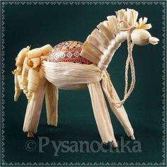 SET Chicken Pysanka + Handmade corn husk dolls (Horse) by artist from Ukraine