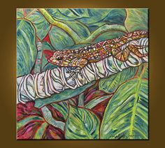 Art Painting Original Painting 20 x 20 inch Oil Painting on Stretched Canvas Nature Painting Animal Gecko by Elizabeth Graf