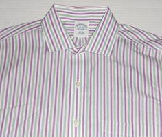 BROOKS BROTHERS Men's Non Iron Slim Fit Purple Green Striped Dress Shirt 16-34 #BrooksBrothers