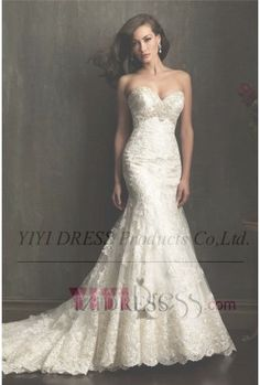 OUR PRICE: $299.79 Trumpet/Mermaid Strapless Sweetheart Tulle Wedding Dress