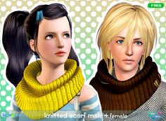 newseasims - Warm knit scarf for adult and child #Sims3