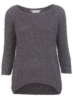Mink Fluffy Curve Hem Jumper - Knitwear  - Clothing
