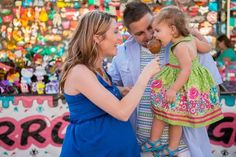 Colorful maternity session at the fair, carnival, carmel apple, toddler, maternity style