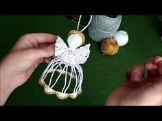 YouTube Crochet Christmas Ornaments, Christmas Crochet Patterns, Holiday Crochet, Crochet Home, Christmas Deco, Christmas Angels, Christmas Crafts, Handmade Soft Toys, Crochet Angels