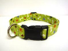 Pawz n Bonez Green Collar  1 Wide   Medium & by MuttsandMittens, $18.00