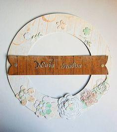 MonRoy / Dekoračný veniec Scrapbooks, Wreaths, Wedding, Decor, Valentines Day Weddings, Decoration, Door Wreaths, Scrapbooking, Deco Mesh Wreaths