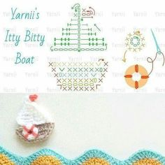 crochet appliquet hook and more boats crochet boat appliques graphic . Appliques Au Crochet, Crochet Applique Patterns Free, Crochet Diagram, Crochet Motif, Crochet Designs, Crochet Doilies, Crochet Flowers, Crochet Stitches, Free Pattern