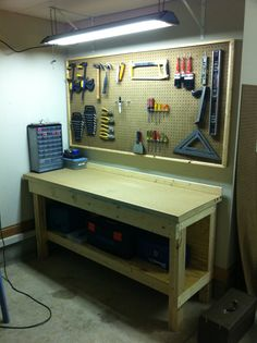 Garage work bench plans ideas workbench forget roger needs one of these tool free workshop she . Garage Bench, Garage Shed, Diy Garage Storage, Garage Tools, Garage Workshop, Tool Storage, Diy Workshop, Craft Storage, Storage Ideas