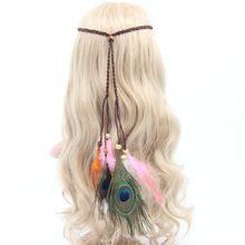 1 pc moda Bohemia estilo Indiano Pena de Pavão acessórios para o Cabelo Retro pena headband corda malha borla hairband handmade(China (Mainland))