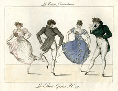 Plate 19: a young couple execute the complicated steps of the danse, watched by another couple who find them too complicated. 1802-12  Hand-coloured etching