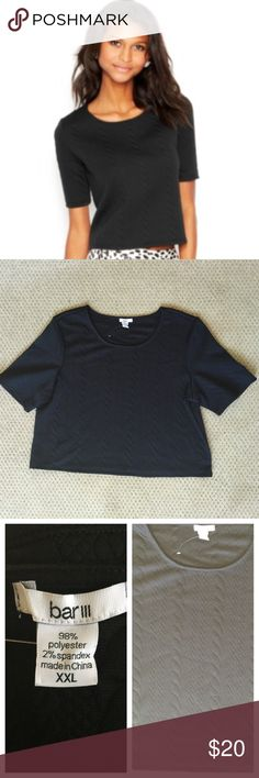 Bar III Black Embossed Cropped Top 💕 NWOT - BAR III Black Elbow-Sleeve Embossed Textured Cropped Top. Great for Birthday, Anniversary, Gift, Present, Vacation, Cruise, Wedding, Cover Up, Date, Night, Spring, Fall, Winter, Summer, Sexy, Work, Casual, lounging, Daytime, Party. Bar III Tops