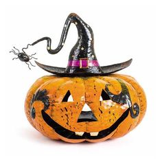 Heaven Sends Metal Pumpkin Candle Holder with Spider