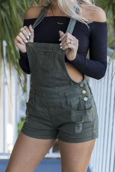 On My Bucket List Olive Short Overalls - Amazing Lace